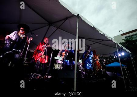 Philadelphia, USA. 08th Sep, 2018. Saxophonist Marshall Allen leads the cosmic and experimental jazz ensemble Sun Ra Arkestra during a performance in Philadelphia, PA, on September 8, 2018. Credit: PhotograPHL/Alamy Live News - Stock Image