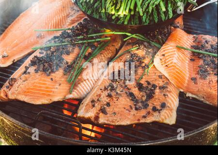 grilling Salmon - Stock Image