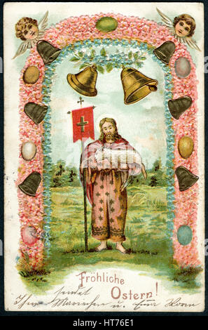 GERMANY - CIRCA 1909: A postcard printed in Germany, shows a biblical story. The inscription in German: Happy Easter, - Stock Image