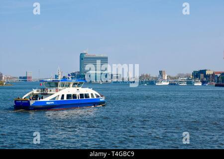 Amsterdam, Netherlands - April 2019; GVB passenger ferry. - Stock Image