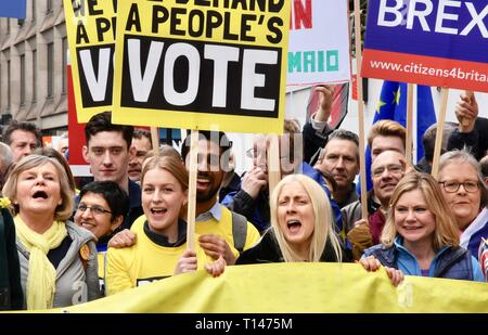 23rd March, 2019. Justine Greening, Conservative MP for Putney, People's Vote March, Piccadilly, London.UK Credit: michael melia/Alamy Live News - Stock Image