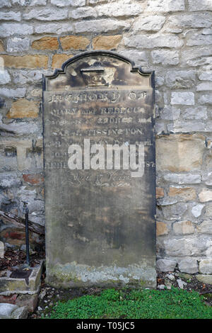 Grave Stone in Great Longstone church in Derbyshire England UK - Stock Image