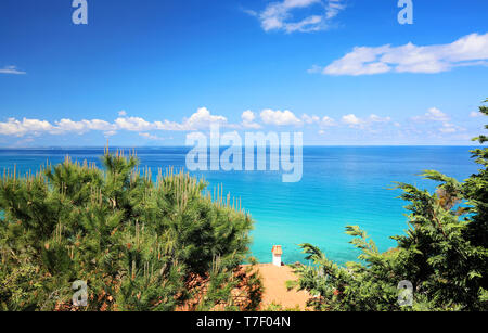 Mediterranean Sea in vivid blues and green colors - Travel Italy, Europe - Stock Image