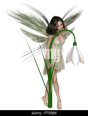 Dark Haired Snowdrop Fairy Standing by Winter Flowers - Stock Image