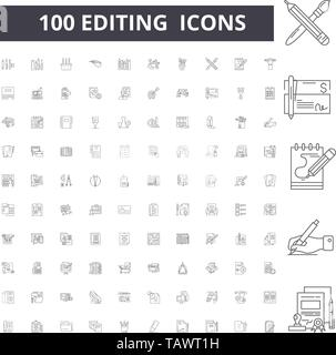 Editing line icons, signs, vector set, outline illustration concept  - Stock Image