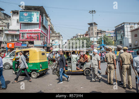 Traffic jam in Old Delhi, India - Stock Image