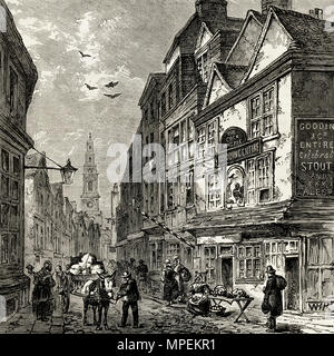Cock and Magpie tavern Drury Lane London England UK pictured in 1840. 19th century Victorian engraving circa 1878 - Stock Image
