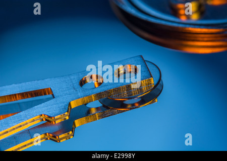 Part of a PC hard drive read-write assembly. - Stock Image