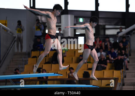 Tatsumi International Swimming Center, Tokyo, Japan. 19th Apr, 2019. Eiji Hasegawa & Yuto Araki, APRIL 19, 2019 - Diving : Japan Indoor Diving Championship 2019 Men's Synchronised 3m Springboard Final at Tatsumi International Swimming Center, Tokyo, Japan. Credit: MATSUO.K/AFLO SPORT/Alamy Live News - Stock Image
