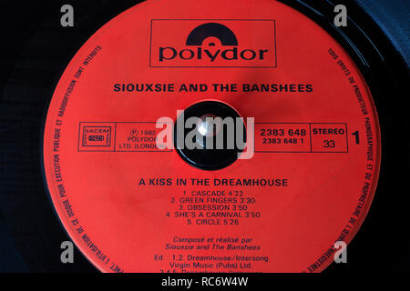 Siouxsie and the Banshees vinyl record & label - A Kiss in the Dreamhouse album (released 1982) - Stock Image