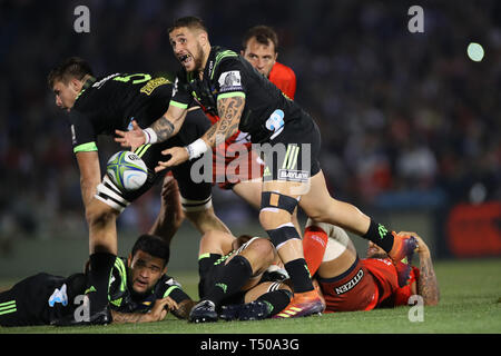 Tokyo, Japan. 19th Apr, 2019. TJ Perenara (Hurricanes) Rugby : 2019 Super Rugby match between Sunwolves 23-29 Hurricanes at Prince Chichibu Memorial Stadium in Tokyo, Japan . Credit: YUTAKA/AFLO SPORT/Alamy Live News - Stock Image
