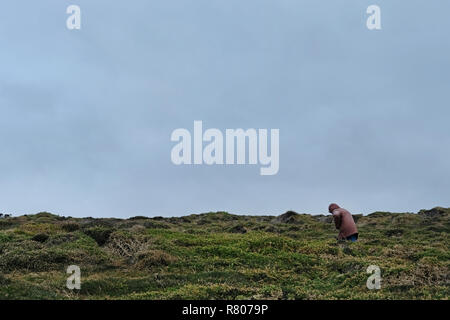 A small figure in the landscape of Cornwall, UK - Stock Image