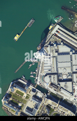 Vertically taken aerial view of the Spinnaker Tower and Gunwharf Quays in Portsmouth Harbour - Stock Image