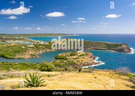 Coastal view from Blockhouse ruins, The Nelson's Dockyard National Park, Saint Paul Parish, Antigua, Antigua and Barbuda, Lesser Antilles, Caribbean - Stock Image