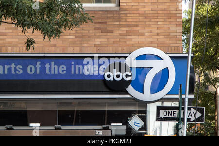 New York, August 30, 2016: The ABC and Channel 7 sings on the ABC office building in Manhattan. - Stock Image