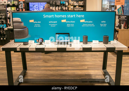 New York, 3/4/2019: Different Amazon Echo units are put on display at Amazon Books store in Manhattan. - Stock Image