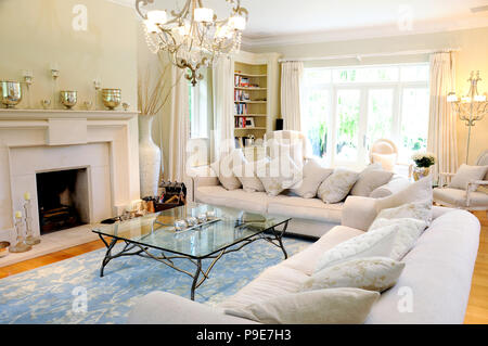 Interior of luxurious lounge with coffee table and fireplace - Stock Image