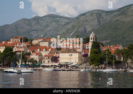 A view across the marina in the Croatian town of Cavtat - Stock Image