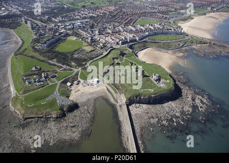 An aerial view of Tynemouth, North East England - Stock Image