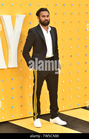 Himesh Patel attends the UK Premiere of 'Yesterday' at the Odeon Luxe in Leicester Square, London, England. - Stock Image