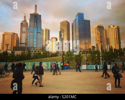 Melbourne's Birrarung Marr in the city - Stock Image