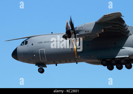 Close-up of an Airbus A400M Atlas military turboprop cargo plane of the Turkish Air Force - Stock Image