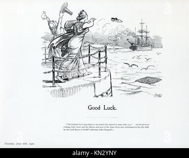 Good Luck, 1910 cartoon by JM Staniforth on the departure of the Terra Nova from Cardiff on the 15th June, the ship - Stock Image