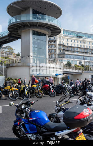 Southend shakedown motorcycle meet organised by the Ace cafe. Ester Bank holiday Monday. - Stock Image