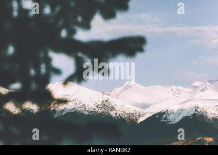 Snowy mountains range landscape and forest tree framing Travel aerial view exploring wilderness nature scenery - Stock Image