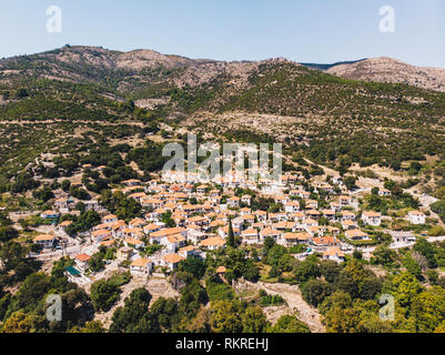 Traditional Greek Village Maries in the central part of Thasos (Thassos) Island, Greece - Stock Image