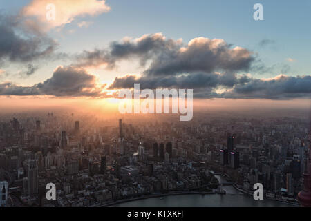 Sunset over Shanghai - Stock Image