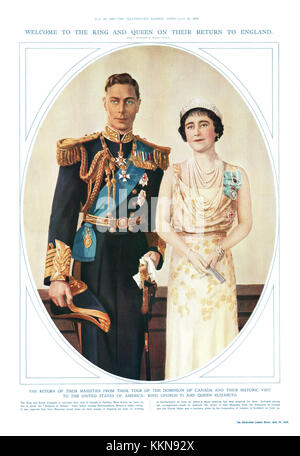 1939 Illustrated London News King George VI AND Queen Elizabeth - Stock Image
