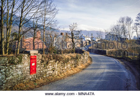 Rural postbox in Aber village, Powys, Wales, UK, in 1987.  Situated in the Brecon Beacons National Park near Talybont-on Usk.  The postbox has since been removed. - Stock Image