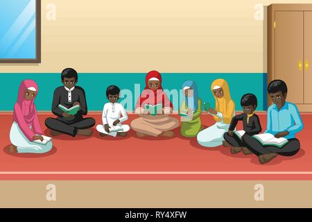 A vector illustration of Muslim African Family Studying Quran Together - Stock Image