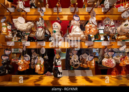Cat baubles, funny cat and kitten Christmas ornaments for sale on display at Christmas Market Weihnachtsmarkt Alexanderplatz Berlin - Stock Image