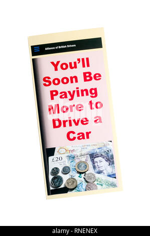 A leaflet from the Alliance of British Drivers protesting about the proposed Ultra Low Emission Zone, ULEZ, in London. - Stock Image