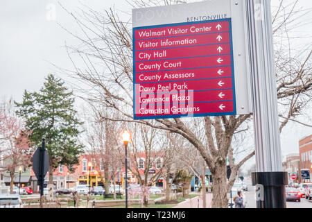 direction sign in downtown bentonville arkansas - Stock Image