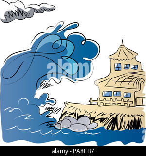 Earthquake generating tsunami.  Tsunami coming to manor from the ocean. illustration of natural disasters and big waves. - Stock Image