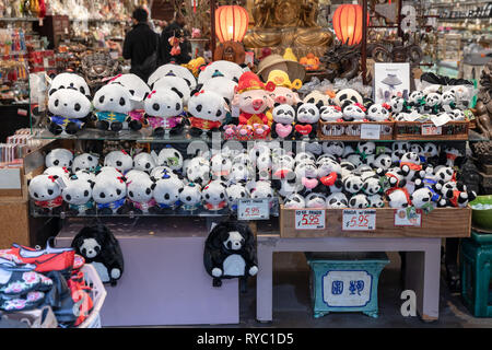 Stuffed toy pandas a in shop; Chinatown, San Francisco, California, USA - Stock Image