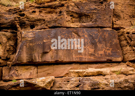 Petroglyphs - Nine Mile Canyon, Utah - Stock Image