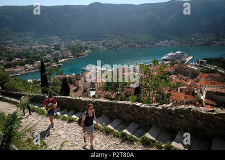 Montenegro, Kotor, Kotor Bay, the Balkans, the Adriatic Sea, natural and culturo-historical region of Kotor, listed as World Heritage by UNESCO - Stock Image