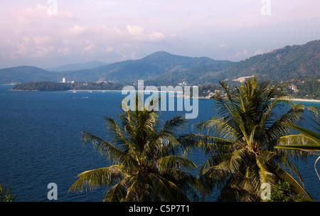 View along Coastline with tourism development near Kata Beach - Stock Image