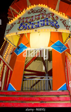 30 November 2018 The entrance to a traditional Helter Skelter ride in erected as an attraction at the Belfast Christmas Fair in Northern Ireland. This - Stock Image