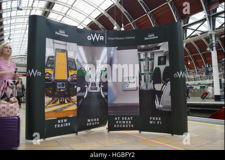 A banner promoting the new GWR Electrostar units at London Paddington on 2nd September 2016 when the new units were - Stock Image