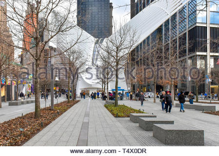 New York city, USA, Calatrava's Oculus in the World Trade Center area. The building is a famous place and a tourist attraction. - Stock Image