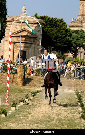 winner of the Jousting competition at traditional annual medieval festival at Monte Rubbiano in Le Marche the Marches Italy - Stock Image