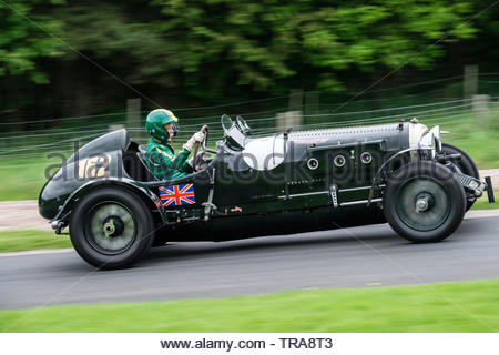 Harewood Hillclimb, Harewood, Yorkshire, UK. 1st June 2019. The annual Classic and Vintage hill climb competition for classic and vintage cars at this well known venue in the Yorkshire countryside. Competitors make a series of timed runs up the hill in an effort to achieve the fastest time for their class of car. This from morning practice. Credit: Gary Clarke/Alamy Live News - Stock Image