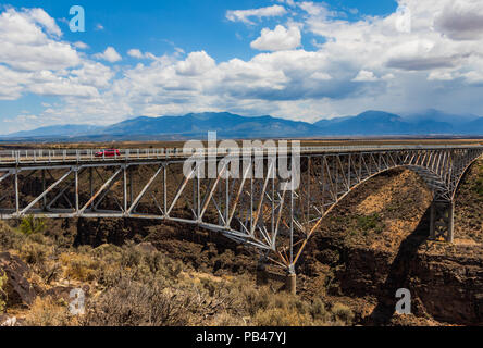 TAOS, NM, USA-6 JULY 18:  The Rio Grande Gorge Bridge, on US 64 south of Taos is the second highest bridge in the US Highway system. - Stock Image