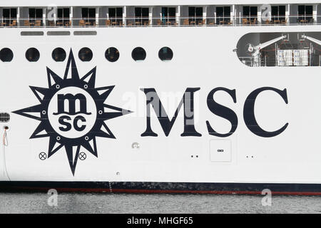 The MSC Cruises logo on the ship MSC Orchestra - Stock Image