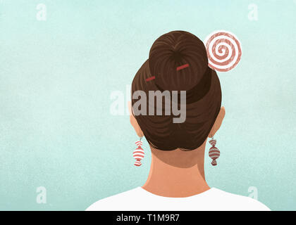 Woman wearing candy hair pin and earrings - Stock Image